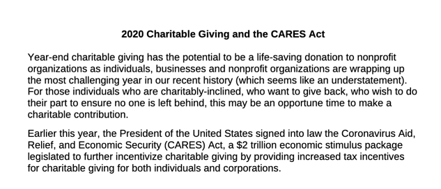 2020 Charitable Giving and the CARES Act