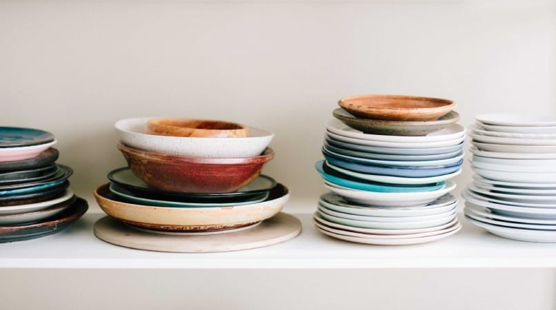 stack of bowls and plates