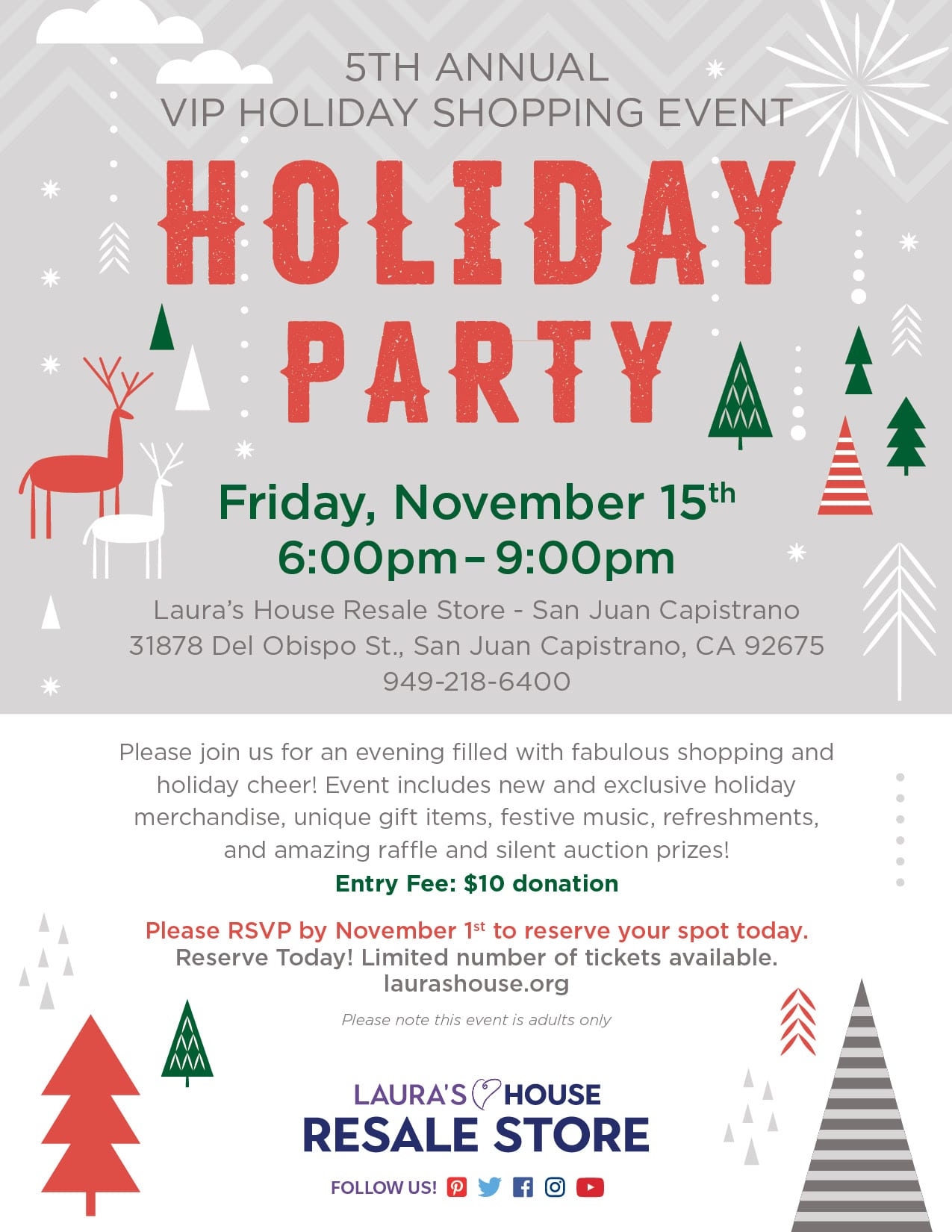 Enjoy a special preview of our holiday merchandise, special promotions, auction and opportunity drawings! Tickets $10. VIP Holiday Shopping - 5th Annual. Friday, November 15 2020, 6pm-9pm