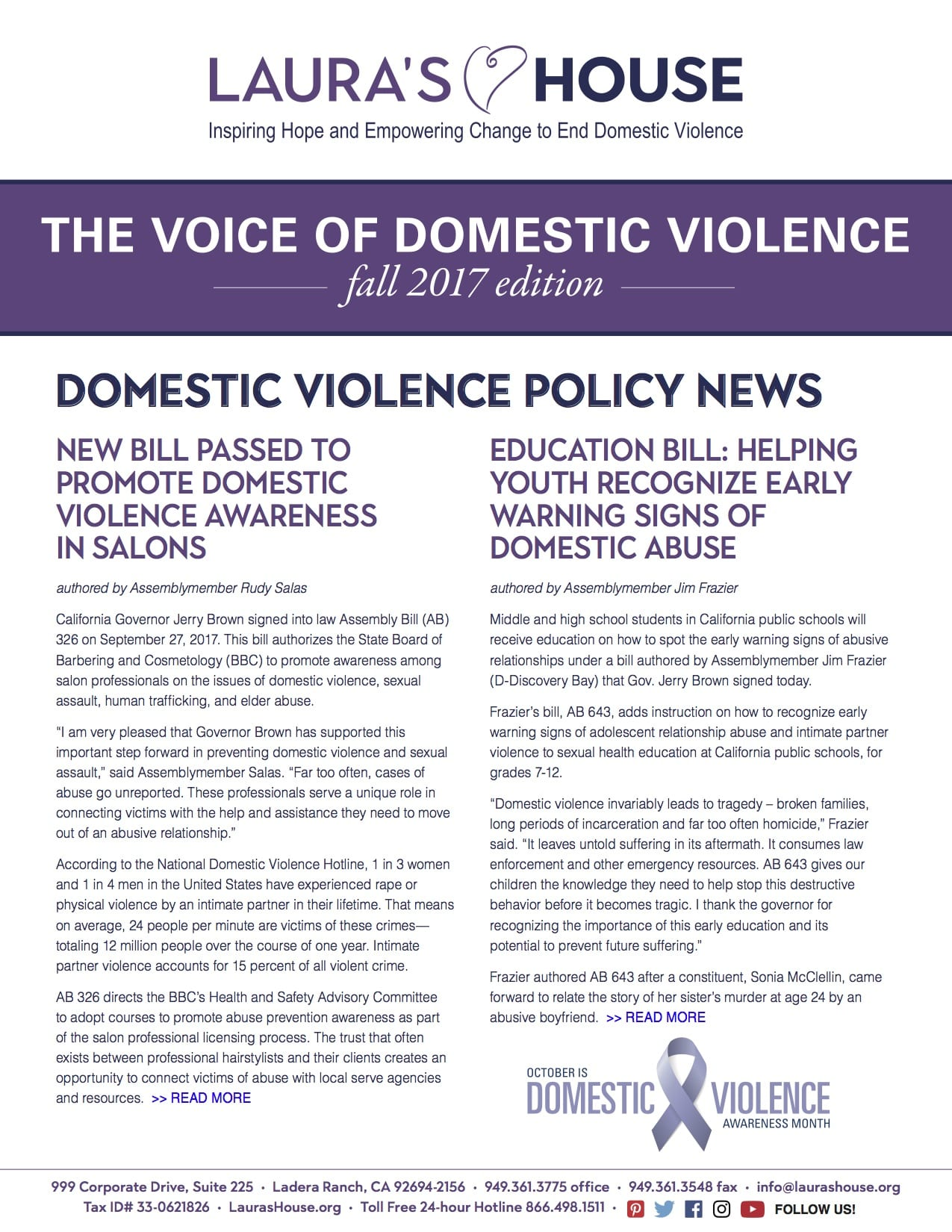 The Voice of Domestic Violence - Fall 2017 edition