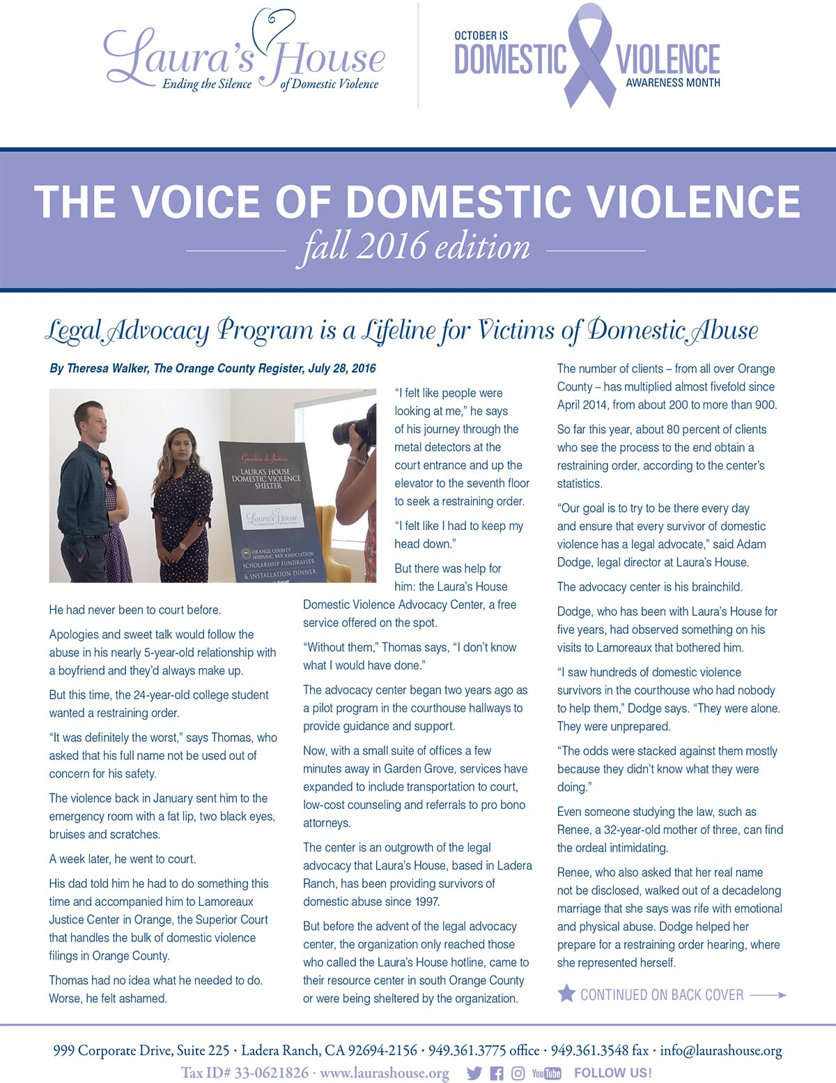 The Voice of Domestic Violence - Fall 2016 edition