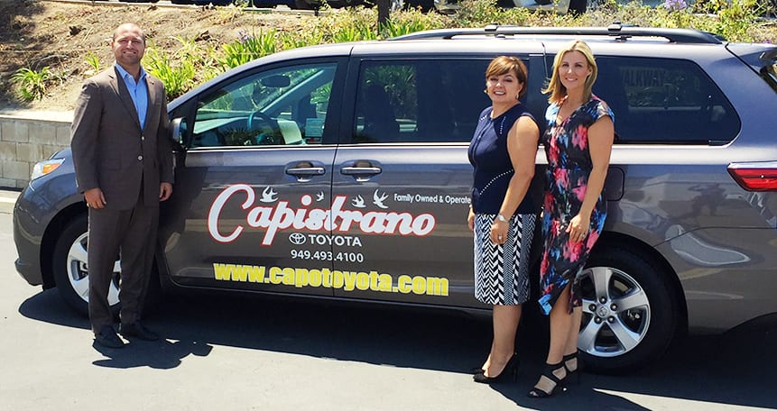 Capistrano Toyota's Donated Car with Roger Hogan Jr., Margaret R. Bayston and Andrea McCallister