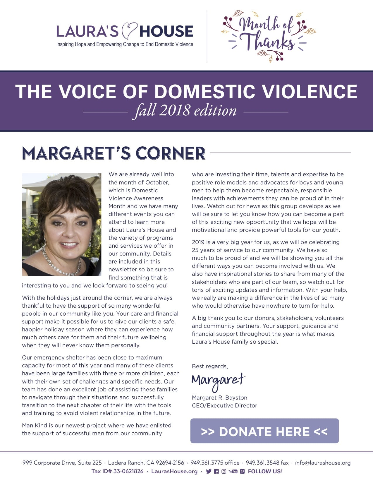 The Voice of Domestic Violence - Fall 2018 edition