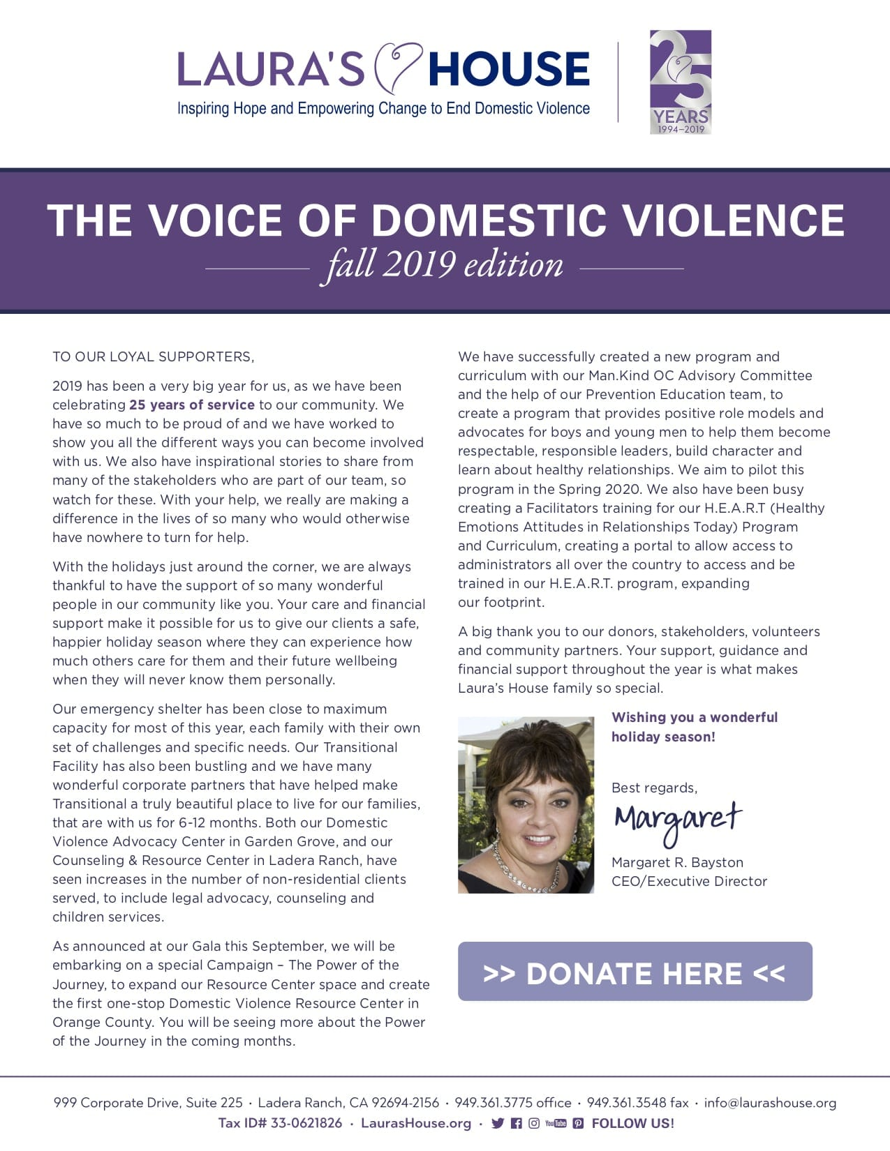 The Voice Of Domestic Violence - Fall 2019 Edition - page 1