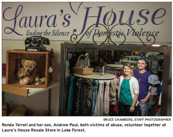 Rhonda Terrell and her son, Andrew Paul, both victims of abuse, volunteer together at Laura's House Resale Store in Lake Forest